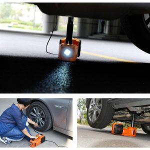 12 V electric car lift jack with air compressor and LED lamp
